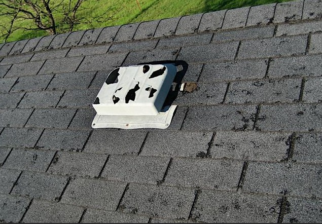 Hail Damaged Asphalt Shingles in Florissant Missouri